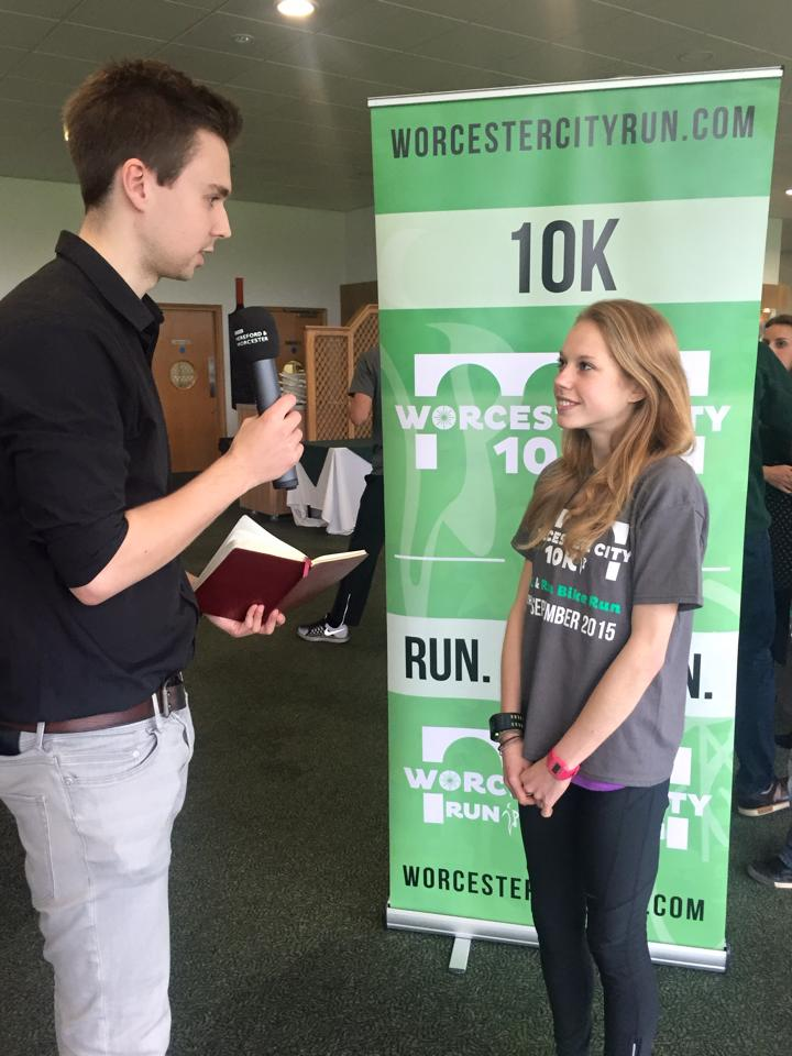 Jenny being interviewed at the launch of the 2015 Worcester City Run.