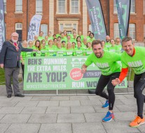 Mayor Of Worcester, Cllr Paul Denham with Ben Smith, Steve Cram and the Black Pear Joggers