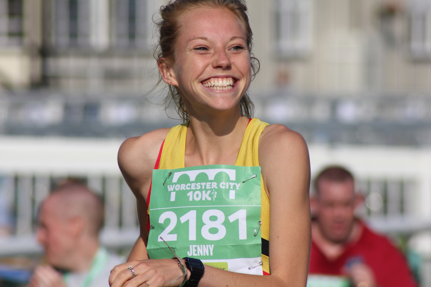 Jenny Nesbitt after winning the inaugural Worcester City 10K in 2014